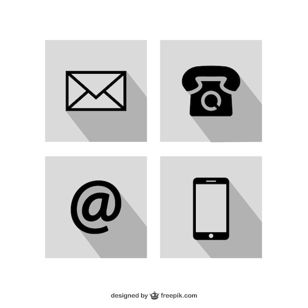 Contact icons set Vector | Free Download