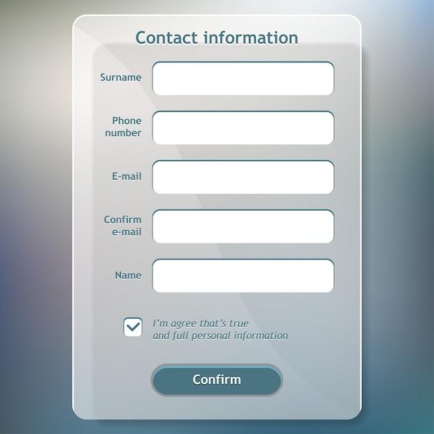 Contact information form Premium Vector