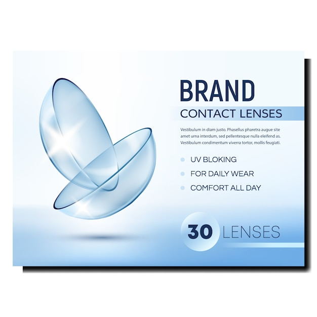 Contact lenses creative advertising banner Premium Vector
