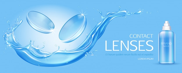 Contact lenses and solution bottle  on water splash Free Vector