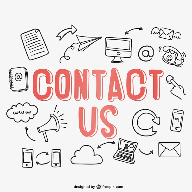 Contact lettering vector Free Vector