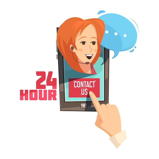 Contact us 24 hour design with hand on mobile device with smiling operator retro cartoon Free Vector
