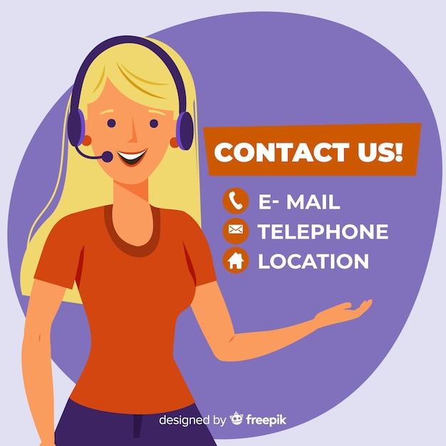 Contact us background flat design Free Vector