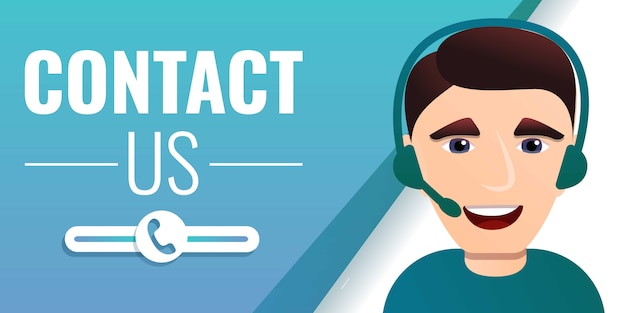 Contact us concept banner, cartoon style Premium Vector