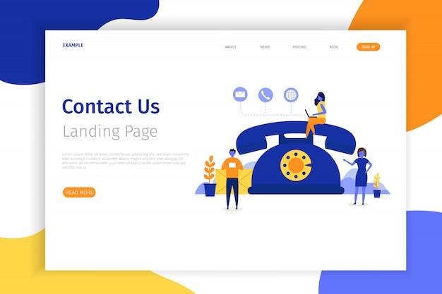 Contact us concept landing page illustration Premium Vector