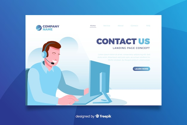 Contact us concept landing page Free Vector