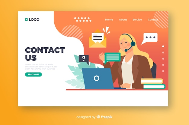 Contact us concept for landing page Free Vector