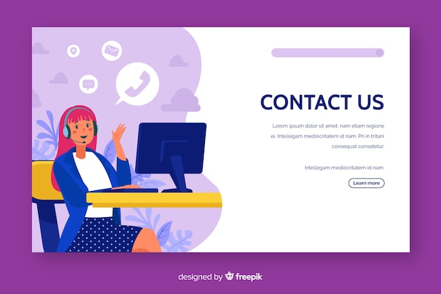 Contact us customer service landing page Free Vector
