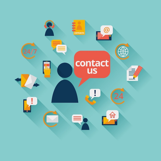 Contact us elements Free Vector