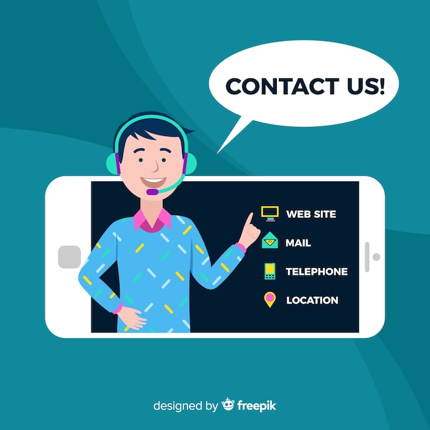 Contact us flat boy background Free Vector