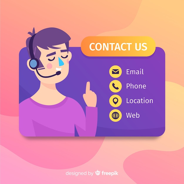 Contact us flat girl background Free Vector