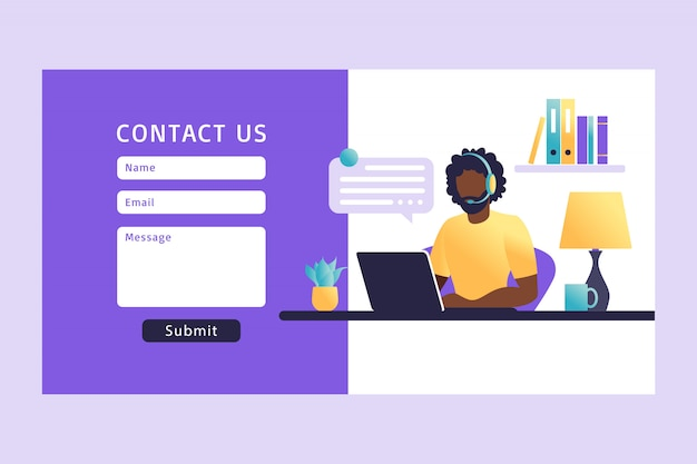 Contact us form template for web. african man customer service agent with headset talking with client. landing page. online customer support Premium Vector