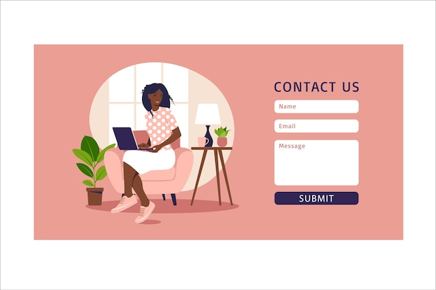 Contact us form template for web and landing page. african female customer talking with client. online customer support, help desk concept and call center.  in flat. Premium Vector