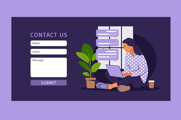 Contact us form template for web and landing page. female customer talking with client. online customer support, help desk concept and call center. Premium Vector