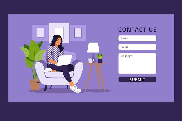 Contact us form template for web and landing page. freelancer girl working at home on laptop. online customer support, help desk concept and call center. Premium Vector