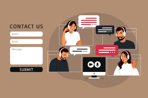 Contact us form template for web. video meeting of people group. online meeting via video conference. remote work, technology concept. vector illustration in flat style. Premium Vector