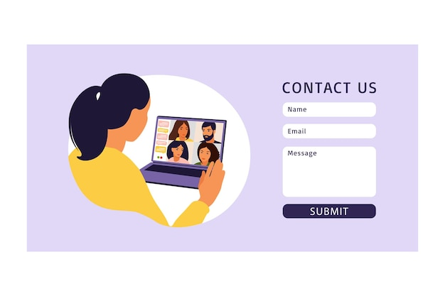 Contact us form template for web. woman using computer for collective virtual meeting and group video conference. remote work, technology concept. illustration. vector. Premium Vector