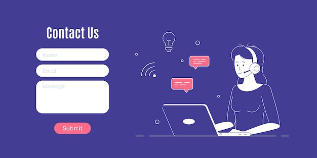 Contact us form template. woman with headphones and microphone with laptop. concept illustration for support, assistance, call center. Premium Vector