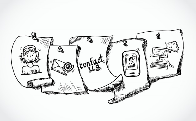 Contact us icons paper tags sketch Free Vector