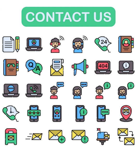 Contact us icons set, lineal color style Premium Vector