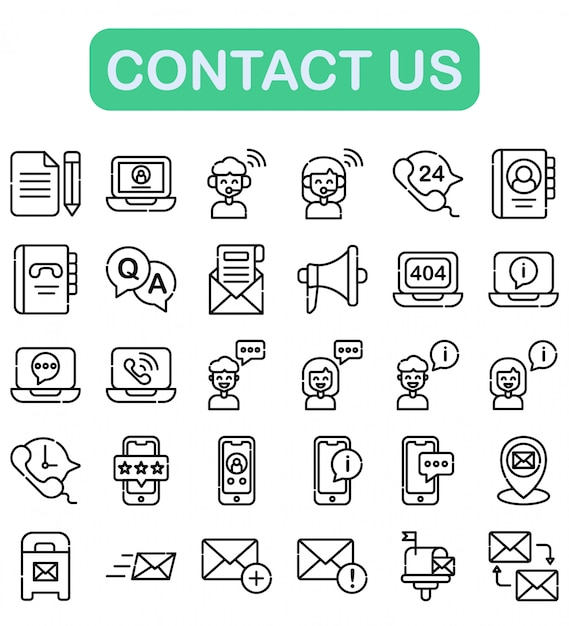 Contact us icons set, outline style Premium Vector