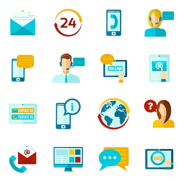 Contact us icons set Free Vector
