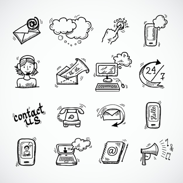 Contact us icons sketch Free Vector