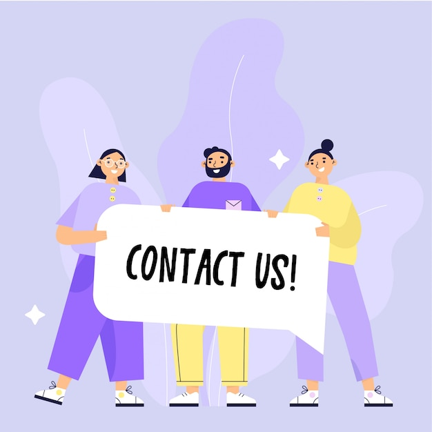 Contact us  illustration. group of people holding a banner with text contact us. flat  illustration. Premium Vector