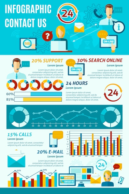 Contact us infographics Free Vector