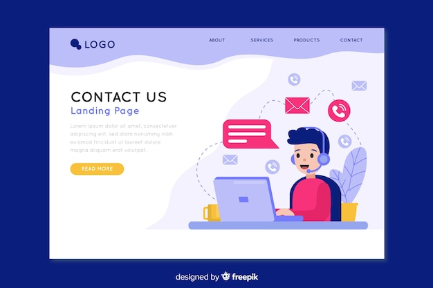 Contact us landing page for company Free Vector