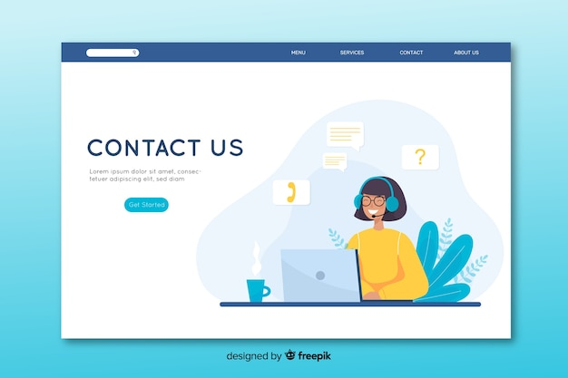 Contact us landing page in flat design Free Vector