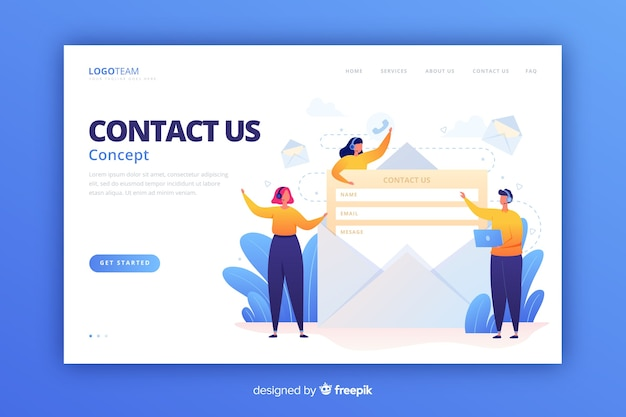 Contact us landing page flat style Free Vector