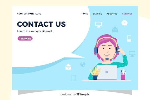 Contact us landing page information Free Vector