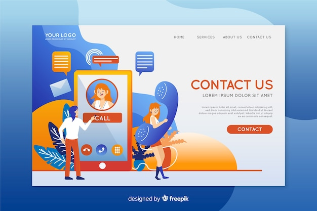 Contact us landing page template flat design Free Vector