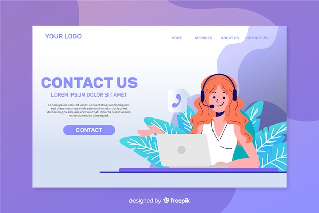 Contact Us Landing Page Template Flat Design Vector