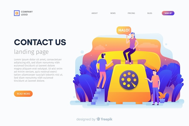Contact us landing page template Free Vector