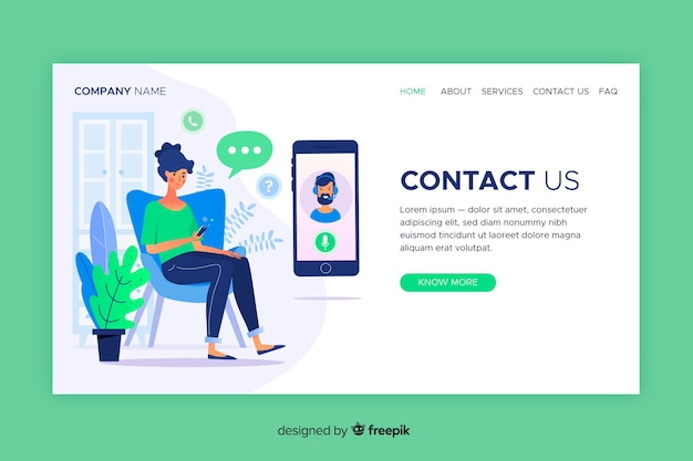 Contact us landing page web template Free Vector