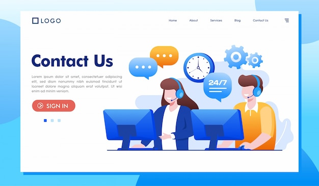 Contact us landing page website illustration Premium Vector