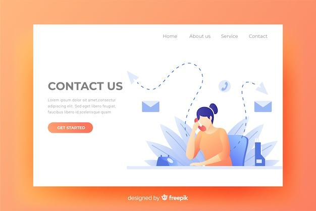 Contact us landing page website Free Vector