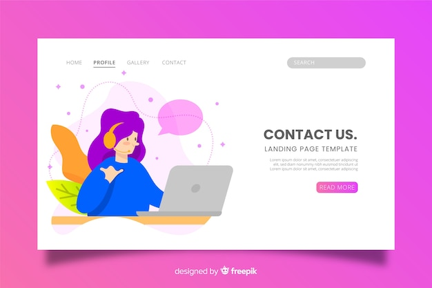 Contact us landing page with character Free Vector