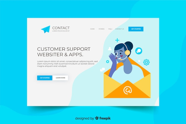 Contact us landing page with customers support Free Vector