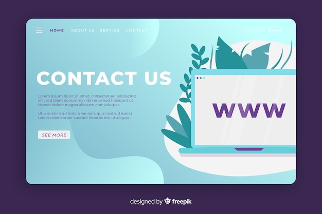 Contact us landing page with desktop Free Vector