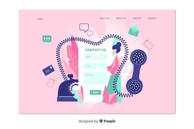 Contact us landing page with fixed phone Free Vector