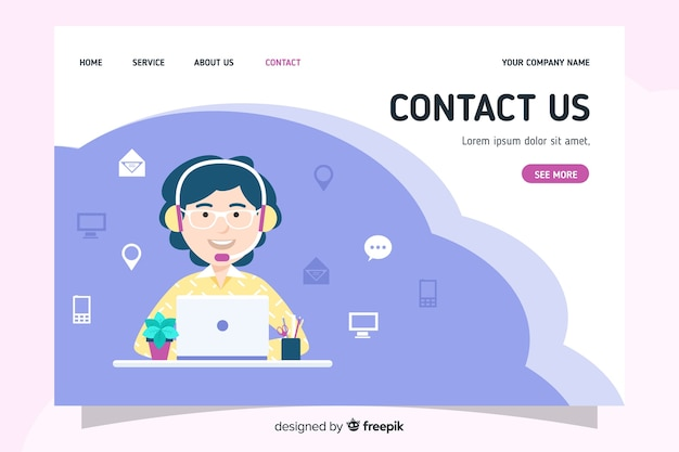 Contact us landing page with flat design Free Vector