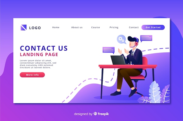 Contact us landing page with man on a desk Free Vector
