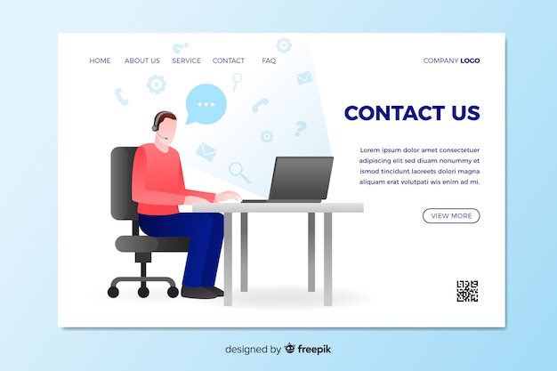 Contact us landing page with man sitting at desk Free Vector