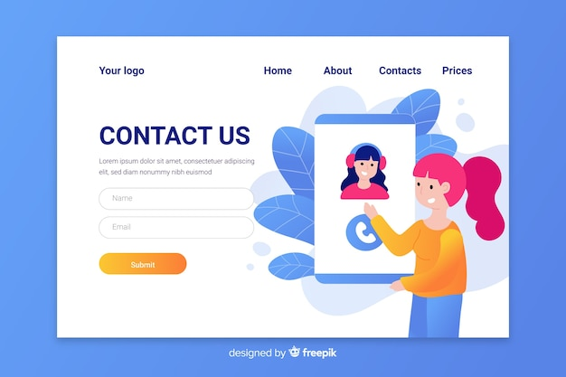 Contact us landing page with operator answering a call Free Vector