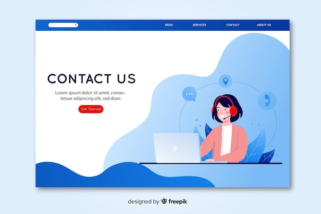Contact us landing page with operator sitting at desk Free Vector