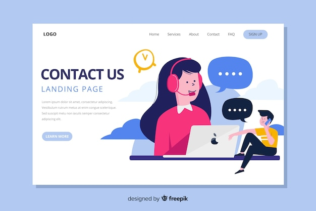 Contact us landing page with operators communicating Free Vector