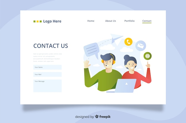 Contact us landing page with operators offering services Premium Vector